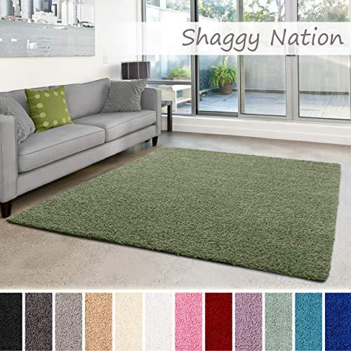 Shaggy-Teppich | Flauschiger Hochflor für Wohnzimmer, Schlafzimmer, Kinderzimmer oder Flur Läufer | einfarbig, schadstoffgeprüft, allergikergeeignet | Grün - 200 x 250 cm - Grün Und Braun-teppiche