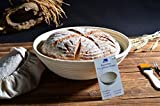 Banneton Proofing Basket 10 Round Banneton Brotform for Bread and Dough [FREE BRUSH] Proofing Rising Rattan Bowl(1000g Dough) + FREE LINER + FREE BREAD FORK