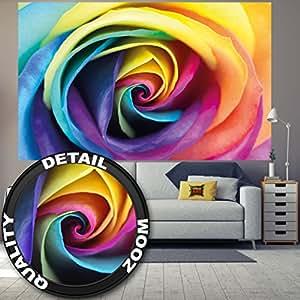 fototapete regenbogen rose wandbild dekoration blumen liebe pflanzen romantik natur flowers. Black Bedroom Furniture Sets. Home Design Ideas