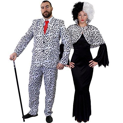ILOVEFANCYDRESS SUPER Delux Dalmatiner Paare KOSTÜM VERKLEIDUNG Fasching Karneval = LANGES Gothic Kleid+Cape +Krause PERÜCKE+ Dalmatiner Look Hosenanzug+Krawatte=Frauen-MEDIUM+ ()