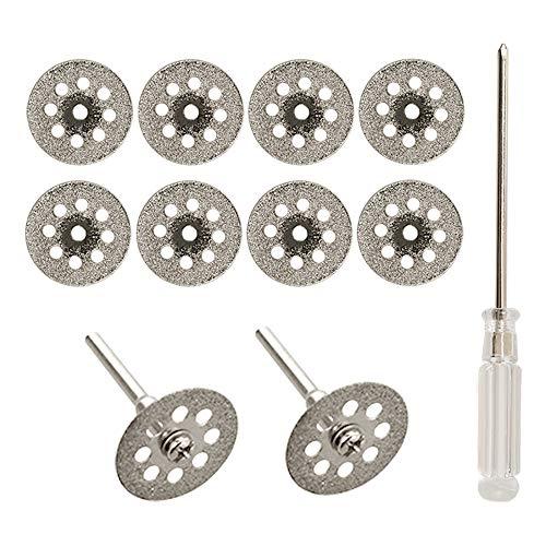 Diamanttrennscheibe, 10 Stück 22mm Mini Diamant Sägeblatt Trennscheibenradsatz mit Dorn (3mm) und Schraubendreher für Dremel Präzisionswerkzeuge Glas Edelsteine Trennscheiben