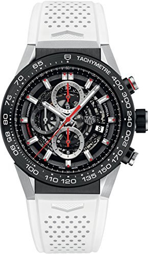 TAG Heuer Carrera Black Skeleton Dial with White Rubber Strap Men's Watch CAR2A1Z.FT6051