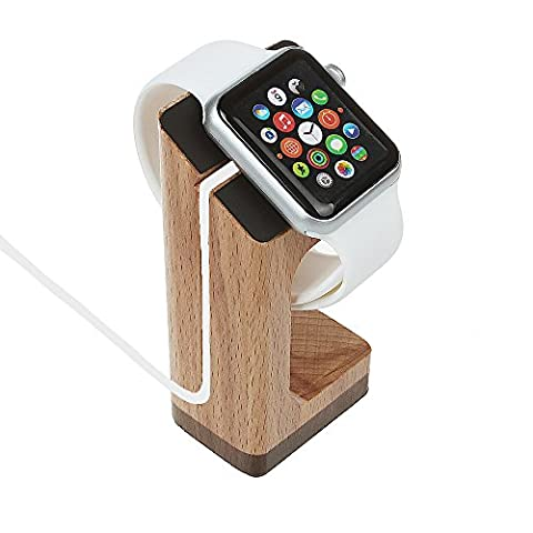 Für Apple Uhr Holzständer, xhorizonMW8 iWatch Holz Ladeständer Bracket Station Dock Cradle PlattFürm Halter für 2015 Apple Watch 38/42mm Sport Edition Alle Modelle - Khaki