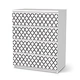creatisto Möbel-Sticker Folie für IKEA Malm 4 Schubladen | Sticker Dekorfolien Möbel-Tattoo | Einrichtung umgestalten Dekor | Muster Ornament Retro Pattern - Dunkelrot