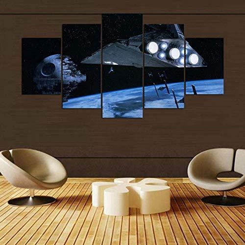 JSBVM Wohnkultur Segeltuch HD-Drucke Modern Wandmalerei 5 Stücke Star Wars Millennium Falcon Gaming Modular Poster,B,30×50×2+30×70×2+30×80×1