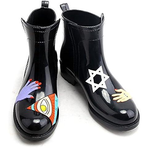 High-End tubo basso stivali colore dipinto a mano delle signore acqua scarpe stivali da pioggia galosce overshoes acqua scarpe , black , 40