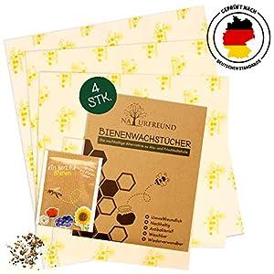 NATURFREUND Bienenwachstücher 4er Set - LFGB zertifiziert - Für Lebensmittel - Inkl. Gratis Saatmischung zur Bienenrettung - 100 Prozent Natürliche Alternative zu Frischhaltefolie - ZeroWaste