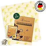 NATURFREUND Bienenwachstücher 4er Set - Für Lebensmittel - Inkl. Gratis Saatmischung zur Bienenrettung - Die Wiederverwendbare Alternative zu Frischhaltefolie - 100% Natürliches Wachstuch