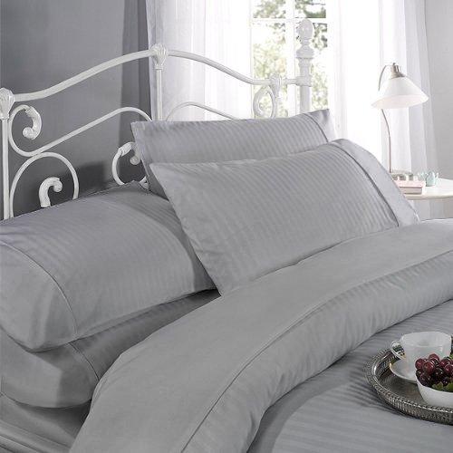Fadenzahl 300 Baumwoll-satin Bettwäsche (Ritz Satin Streifen Baumwolle Rich Fadenzahl 300Bettbezug Set Doppelbett Silber)