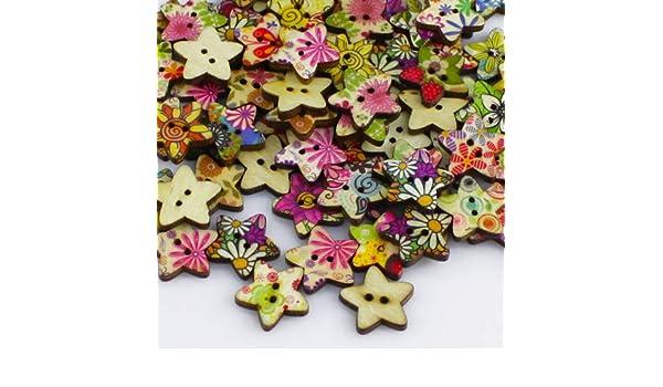 Doitsa 100pcs Boutons D/écoratifs en Bois 15mm 2 Trous Forme de Fleur Fantaisie Multicolore pour Bricolage Coudre Artisanat