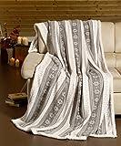 heimtexland Kuscheldecke Weihnachten XL mit Fell Saum in grau super weich 150x200 cm fusselfrei kein Verfilzen Wohndecke Ökotex Decke Typ280