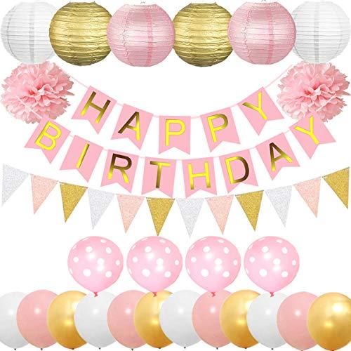 (Cebelle Geburtstagsparty Dekorationen Lieferungen begünstigt, Party Pack 52pcs Pink für Mädchen Gold Happy Birthday Banner, 6 Papierlaternen, 2 Tissue Pom Poms Blumen, 15pcs Bunting Flags Girlanden, 4 Polka-Dot Ballons, 12 Gold Pink White glänzenden Latex Balloons)