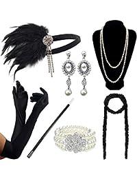 DRESHOW Accesorios de los años 20 Conjuntos Flapper Disfraz Gatsby Pluma Diadema Pendientes brillantes Collar largo