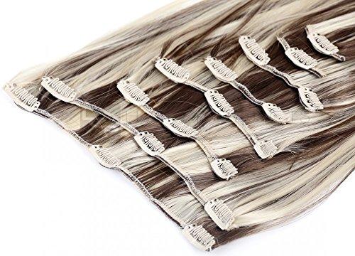 LCP Clip In Extensions 60 cm Haarverlängerung 8 Haarteile, Farbe:braun mix blond