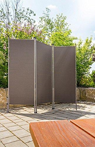 HT Out-Door Paravent anthrazit - praktischer Sicht-Schutz Sonnen-Schutz für draussen
