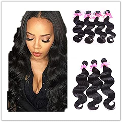 KLQHair 7A poco costoso di vendita calda brasiliana del Virgin dei capelli dell'onda del corpo di estensioni dei capelli umani capelli tesse colore naturale 100g / pc 22 22 22 , 20inch