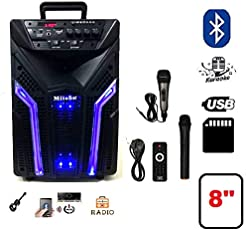 "Mitsun 8"" Portable Bluetooth Karaoke speaker High bass Treble control with Recording function