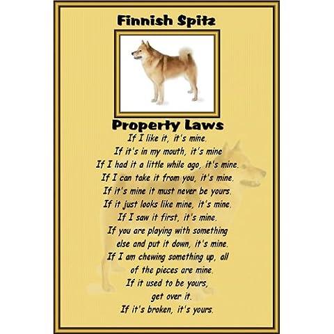 Spitz finlandese–Laminato A4–Cartello PROPRIETà Leggi