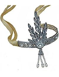 Santfe - Diadema con lazo estilo años 20, con perlas de imitación, tiara para novias, acabado plateado y cinta