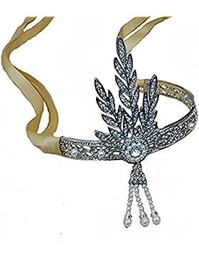 Santfe Tiara im 1920er-Jahre-Stil, silberfarben, Blätter-Design, mit unechten Perlen und gelbem Band