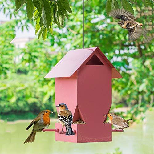LULUDP Futterstationen für Wildvögel Pink Metal Bird Feeder-FeederFeeders-Outdoor Wildvogel-Feeder Automatischer Futterpavillon Vogelfütterung Vogelfutterstation
