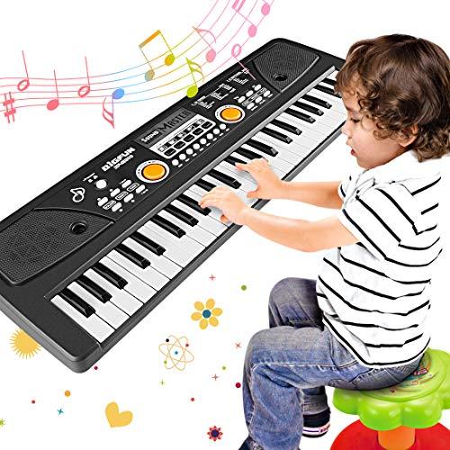 WOSTOO Kinder Klavier, Multifunktions Mini 49 Tasten Musik Klaviertastatur Tragbare Wiederaufladbare Elektronische Musikinstrument Mikrofon für Baby Kinder