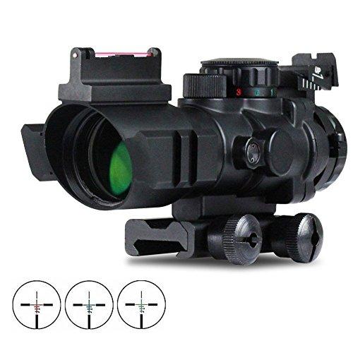 VERY100 Zielfernrohr 4x32mm Leuchtpunktvisier mit Fiberoptic Red Green Dot Visier Zielgerät -
