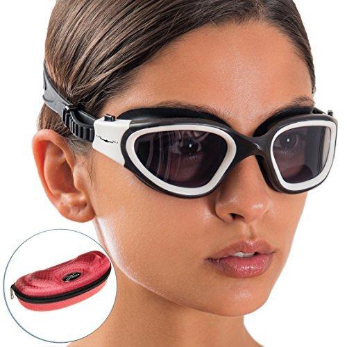 Gafas de natación de amplio rango de visión + Funda con diseño exclusivo de AqtivAqua® || Entrenamientos de natación ~ Mar abierto || Línea para interiores/exteriores (Color Rojo)