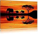 Dark Afrika Elefant in Sonnenschein Bild auf Leinwand, XXL riesige Bilder fertig gerahmt mit Keilrahmen, Kunstdruck auf Wandbild mit Rahmen, guenstiger als Gemaelde oder Bild, kein Poster oder Plakat, Format:100x70 cm