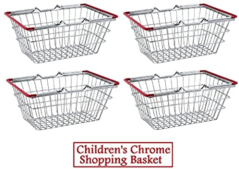 4 x Children's Kids Mini Chrome Shopping Basket Toys Role Play Food Presentation
