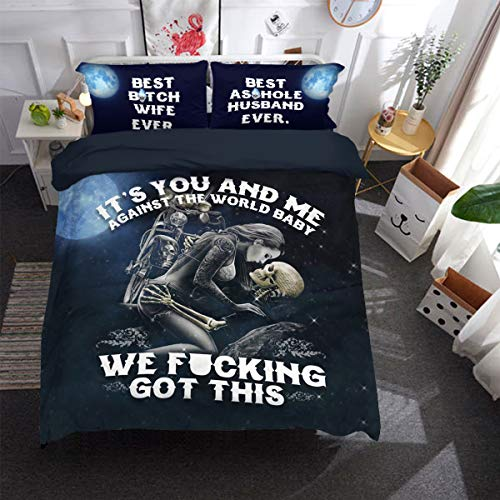 WONGS BEDDING 3D Sugar Skull Bettbezug It's You and Me Bettwäsche-Set, Gothic-Stil, 3-teilig, Bettbezug für Erwachsene und Jugendliche,135 * 200cm