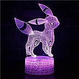 Pokemom Changeable Mood Lamp 7 colori luce Base Coolled 3D Night Light per anniversario regalo di compleanno per bambini