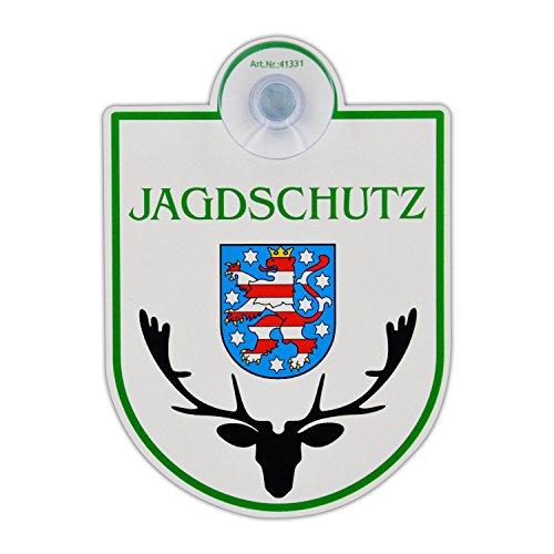 """Saugnapfschild Schild """"Jagdschutz - Thüringen"""" Acrylschild 3mm mit Saugnapf 30mm, ca. 90x125 mm für Scheibeninnenbefestigung"""