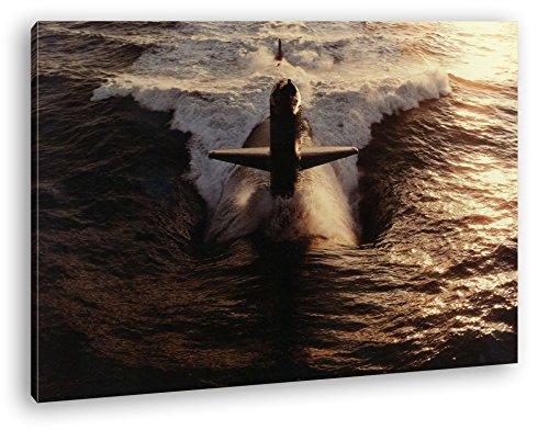deyoli gewaltiges U-Boot im Format: 100x70 als Leinwandbild, Motiv fertig gerahmt auf Echtholzrahmen, Hochwertiger Digitaldruck mit Rahmen, Kein Poster oder Plakat