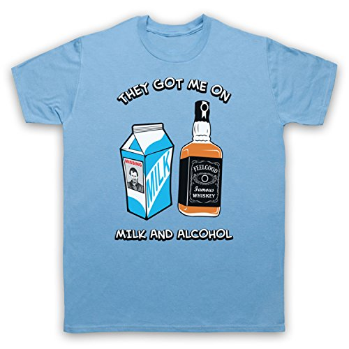 Inspiriert durch Dr Feelgood Milk & Alcohol Unofficial Herren T-Shirt Hellblau