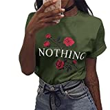 Ulanda Damen Sommer Shirt Teenager Mädchen Casual Baumwolle Bluse Loose Kurzarm Rose Druck Muster Nothing Tops Hemd Oberteile Pullover T-Shirt (Armeegrün, XXL)