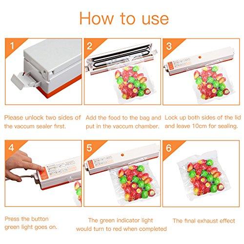 Folienschweißgerät, CrazyFire Vakuumierer für Lebensmittel, Fleisch,Früchte,Vakuum Maschine Einfach zu Bedienen inkl. 30 gratis Profi-Folienbeutel - 3