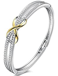 "Angelady Bracelets for Womens, Forever and Ever Infinity Bangles for Women Designed with Silver Crystals from SWAROVSKI and 14k Yellow Gold 8"",Allergen-free, passed SGS Inspection Standard"