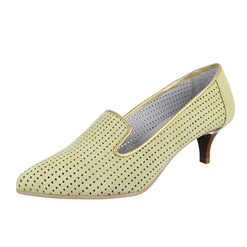 Damen Schuhe, 4341, Pumps, Bequeme Komfort Leder, Wildleder, Hellgrün, Gr 44