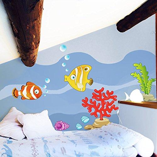 STIKID - STIKID - COLORED FISH - Wall stickers 152x42 cm - Wandtattoo Wallsticker - aufkleber - decal - kinder deco