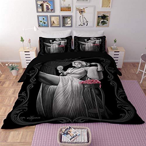 3 Stck Marilyn Monroe 3D Drucken Bettbezug-Set Schlafzimmer Dekoration(1 Bettbezug und 2 Kopfkissenbezüge),UKKing ()