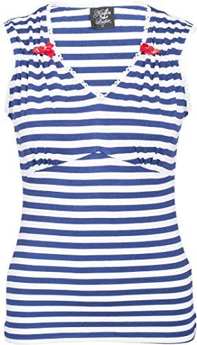 Küstenluder JANET Sailor Streifen Striped Matrosen NAUTICAL Shirt TOP Rockabill Navyblau-Weiß gestreift
