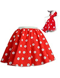 "Adults Polka Dot Skirt Rock n Roll 50's/ 60's Style with neck tie 17 different colours 21"" length"