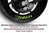 Sticker-Designs-25x3cm-4Stück (2xVorn +2xHinten) Yamaha Schrift Logo Grün Glanz mittig RimB16 Felgenrandaufkleber (glänzend) -WASCHANLAGENFEST- Felgenaufkleber Felge Motorrad Tuning Aufkleber Alle Autos+Lacke geeignet.Beständig gegen Öl, Benzin, Salz, Schnee, Reinigungsmittel!SCHNELL,EINFACH VERLKEBT auf Scheiben,PKW,Motorrad,Tuning,Sponsoring,Camping,alle glatten Flächen,Wandtattoo,Roller,Heckscheibe,Stoßstange,Helm.Motorhaube,Autoheck,Deko,Wandtattoo,MADE IN GERMANY
