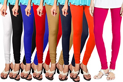 Shmayra Multicolor Soft & Stretchable Churidar Leggings for Womens Free Size – (Pack of 8) Leggings Combo Offer