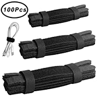 Outee 100 Pcs Cable Straps Cable Ties Cable Holder Reusable 11/6/5 Inch Fastening Wire Organizer Cord Management for Home Office