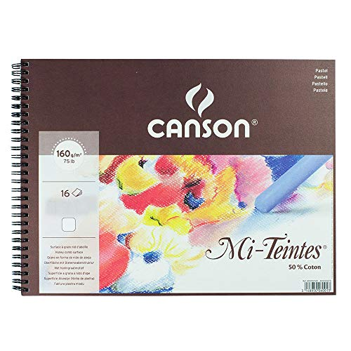 Canson : Mi-Teintes : Pastel Pad : Spiral : 32x41cm : 16 Sheets : White -