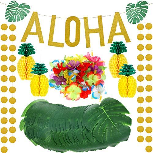 143 Stücke Hawaiian Tropisch Luau Thema Party Dekorationen Set, Enthalten Seiden Papier Ananas, Tropische Palm Simulation Blätter, Künstliche Hibiskus Luau Blumen, Gold Glittery Aloha Banner - Hibiskus-blumen Papier