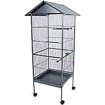 TecTake Jaula para Pájaros Pajarera XXL Pájaro Loros Canarios Periquitos - varios modelos - (con techo | no. 400749)