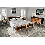 Festnight 4-teiliges Schlafzimmermöbel Komplette Set aus Massives Akazienholz Holzmöbel inkl. 1 Bettgestell ohne Matratze, 2 Nachttisch und 1 Sideboard
